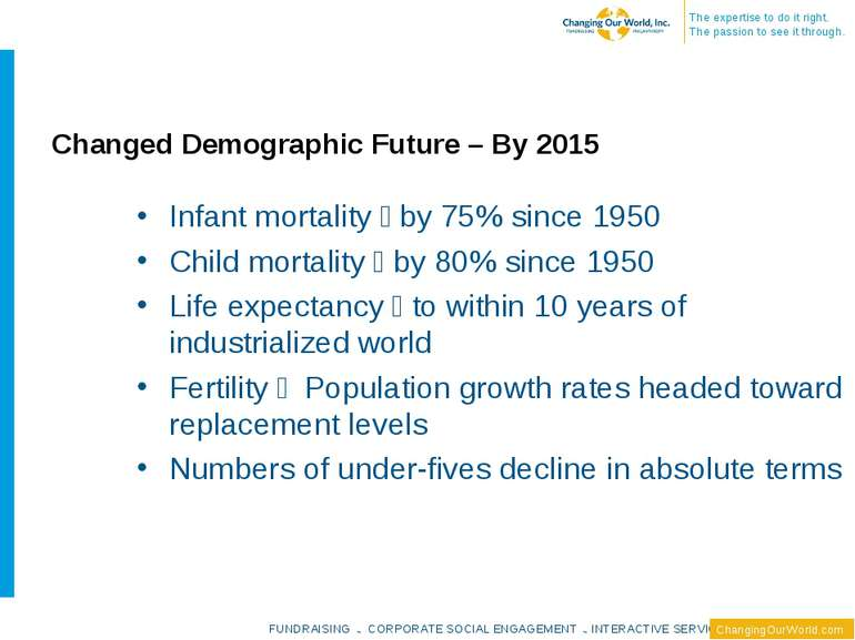 Changed Demographic Future – By 2015 Infant mortality by 75% since 1950 Child...