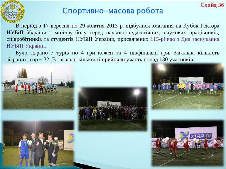 В період з 17 вересня по 29 жовтня 2013 р. відбулися змагання на Кубок Ректор...