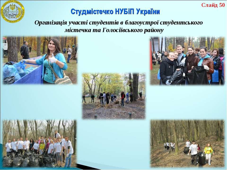 Організація участі студентів в благоустрої студентського містечка та Голосіїв...