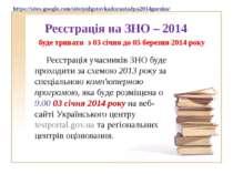 Реєстрація на ЗНО – 2014 Реєстрація учасників ЗНО буде проходити за схемою 20...