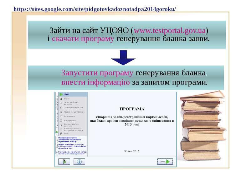 Зайти на сайт УЦОЯО (www.testportal.gov.ua) і скачати програму генерування бл...