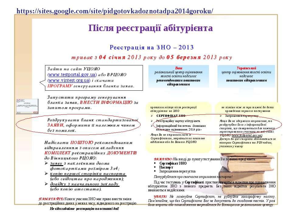 Після реєстрації абітурієнта https://sites.google.com/site/pidgotovkadoznotad...