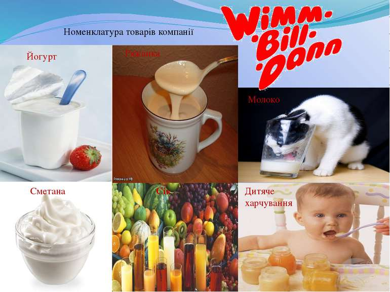 Номенклатура товарів компанії Йогурт Сік Дитяче харчування Ряжанка Молоко Сме...