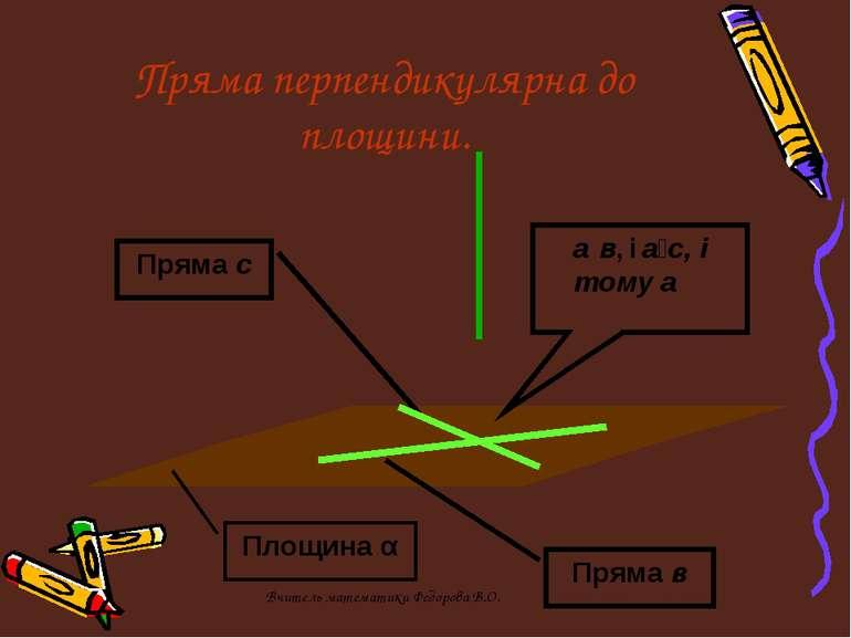 Пряма перпендикулярна до площини. Пряма с Пряма в Площина α аḻв, і аḻс, і том...