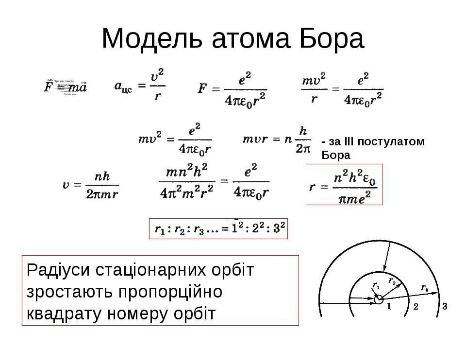 Модель атома Бора - за ІІІ постулатом Бора Радіуси стаціонарних орбіт зростаю...