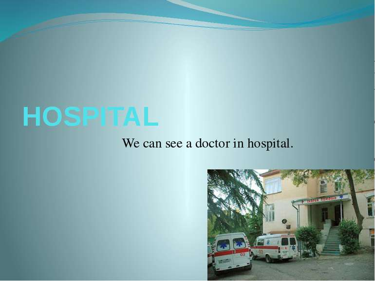 HOSPITAL We can see a doctor in hospital.