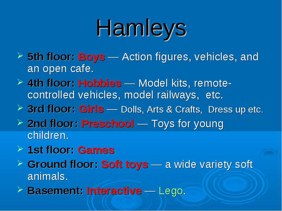 Hamleys 5th floor: Boys — Action figures, vehicles, and an open cafe. 4th flo...