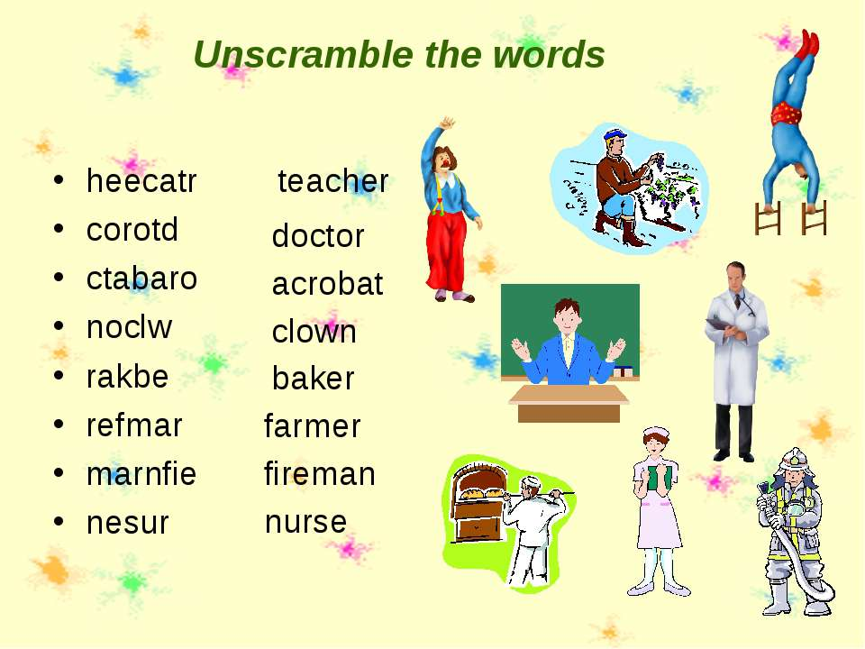 Unscramble the words heecatr corotd ctabaro noclw rakbe refmar marnfie nesur ...
