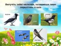 Вилучіть зайві малюнки, залишивши лише перелітних птахів ворона шпак сорока л...