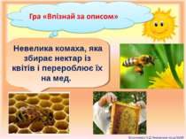 Невелика комаха, яка збирає нектар із квітів і перероблює їх на мед.