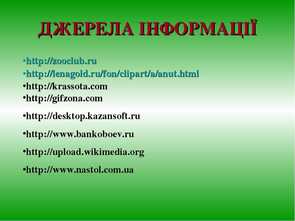 ДЖЕРЕЛА ІНФОРМАЦІЇ http://zooclub.ru http://lenagold.ru/fon/clipart/a/anut.ht...