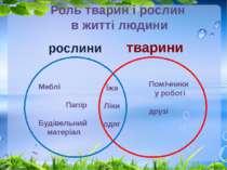 Роль тварин і рослин в житті людини Меблі Папір Будівельний матеріал Помічник...