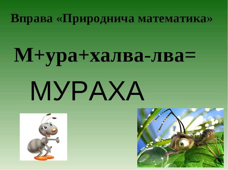 Вправа «Природнича математика» М+ура+халва-лва= МУРАХА