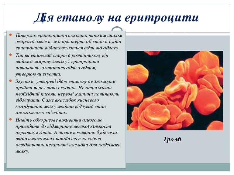 Дія етанолу на еритроцити Поверхня еритроцитів покрита тонким шаром жирової з...