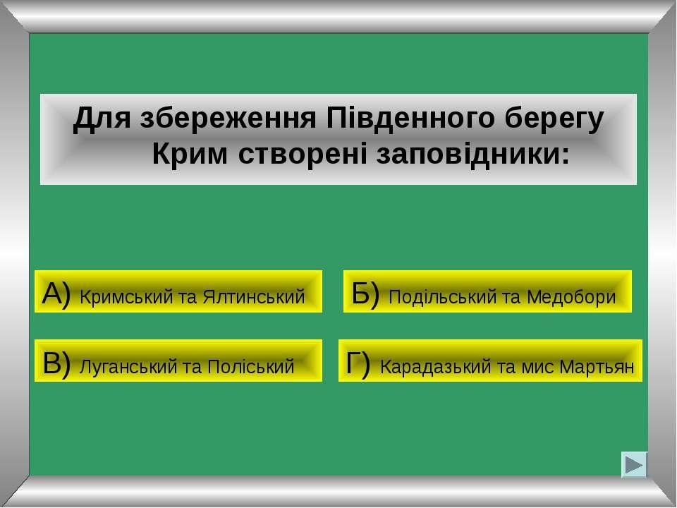 Для збереження Південного берегу Крим створені заповідники: А) Кримський та Я...