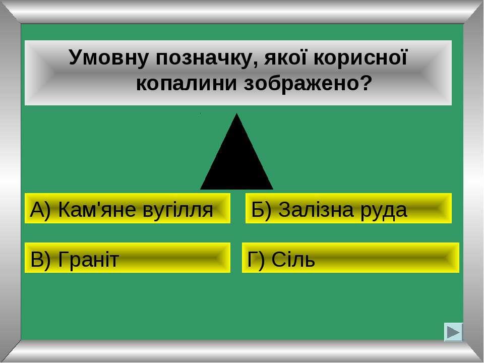 Умовну позначку, якої корисної копалини зображено? А) Кам'яне вугілля Б) Залі...