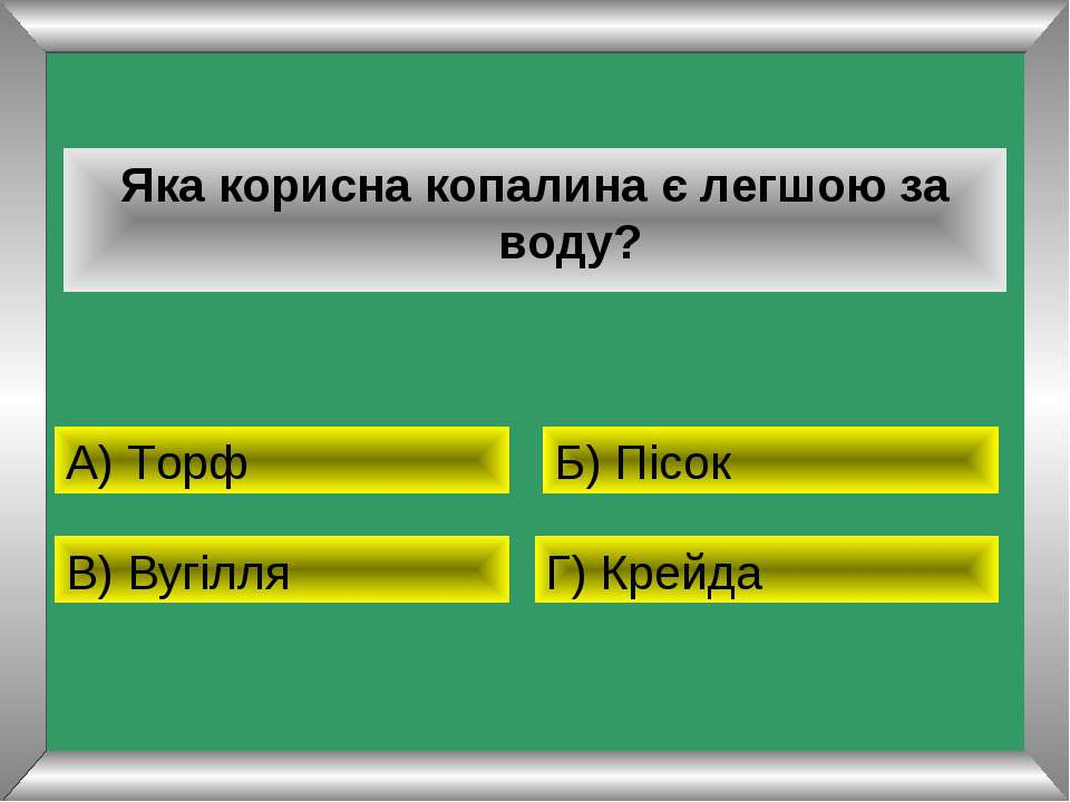Яка корисна копалина є легшою за воду? А) Торф Б) Пісок В) Вугілля Г) Крейда