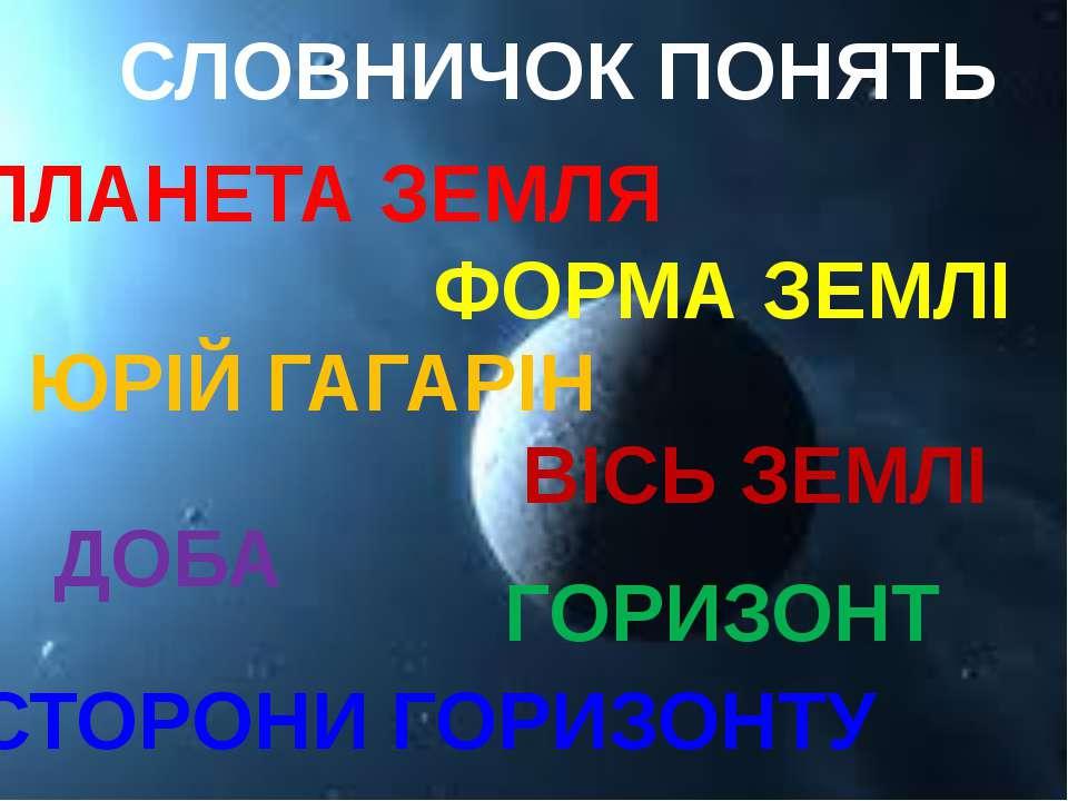 СЛОВНИЧОК ПОНЯТЬ ПЛАНЕТА ЗЕМЛЯ ФОРМА ЗЕМЛІ ЮРІЙ ГАГАРІН ВІСЬ ЗЕМЛІ ДОБА СТОРО...