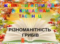 ЖИВА КНИГА ПРИРОДИ ВІДКРИВАЄ НАМ ТАЄМНИЦІ РІЗНОМАНІТНІСТЬ ГРИБІВ