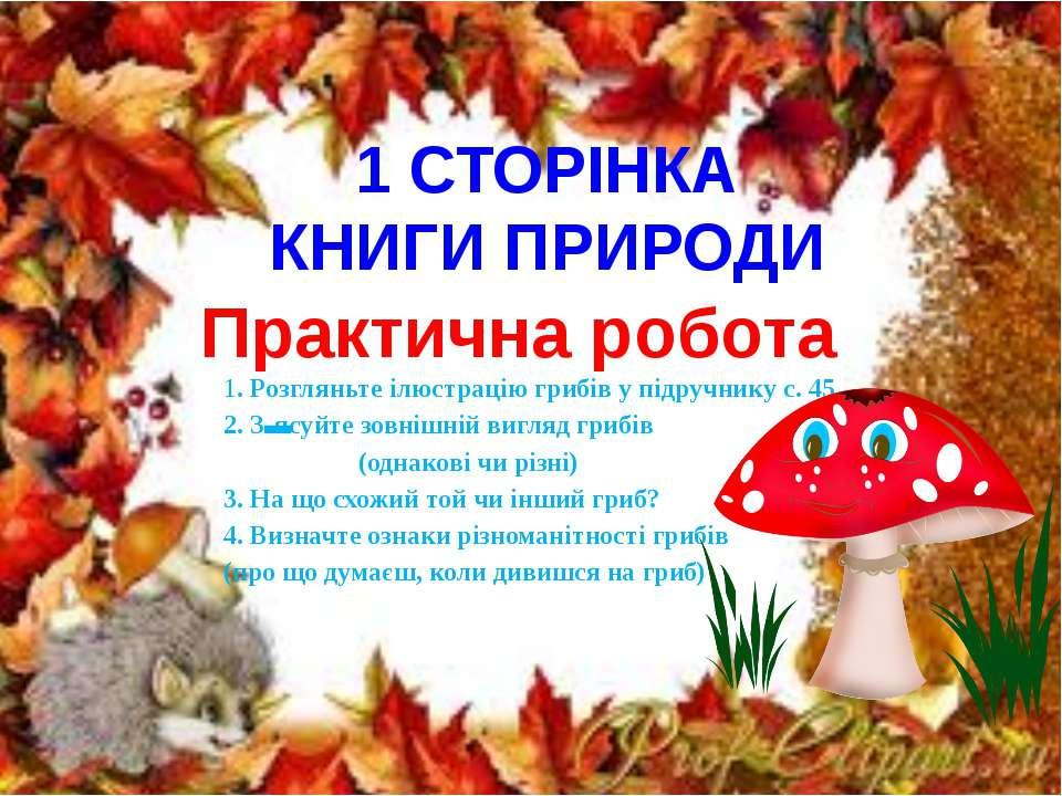 1 СТОРІНКА КНИГИ ПРИРОДИ Практична робота 1. Розгляньте ілюстрацію грибів у п...