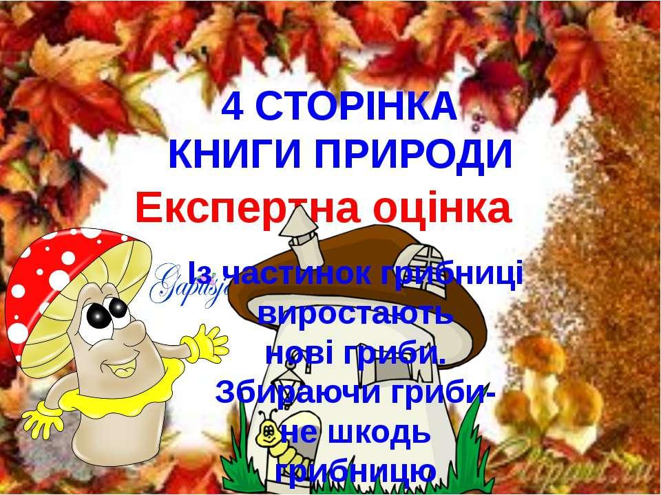 4 СТОРІНКА КНИГИ ПРИРОДИ Експертна оцінка Із частинок грибниці виростають нов...