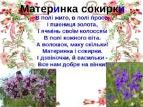 Материнка сокирки В полі жито, в полі просо, І пшениця золота, І ячмінь своїм...
