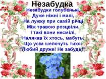 Незабудка Незабудки голубенькі, Дуже ніжні і малі, На лужку при самій річці М...