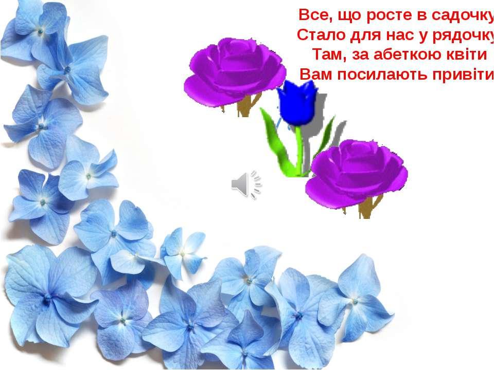 Все, що росте в садочку, Стало для нас у рядочку. Там, за абеткою квіти Вам п...