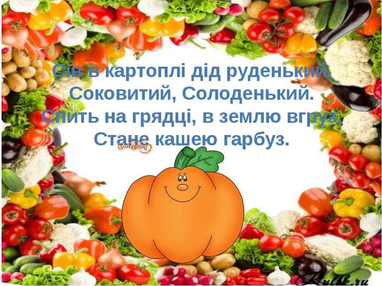 Сів в картоплі дід руденький, Соковитий, Солоденький. Спить на грядці, в земл...