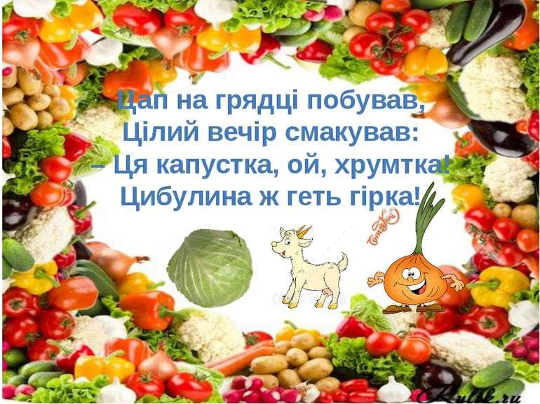 Цап на грядці побував, Цілий вечір смакував: – Ця капустка, ой, хрумтка! Цибу...
