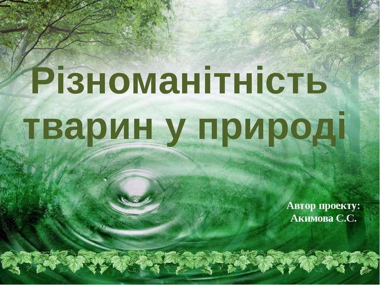 Автор проекту: Акимова С.С. Різноманітність тварин у природі