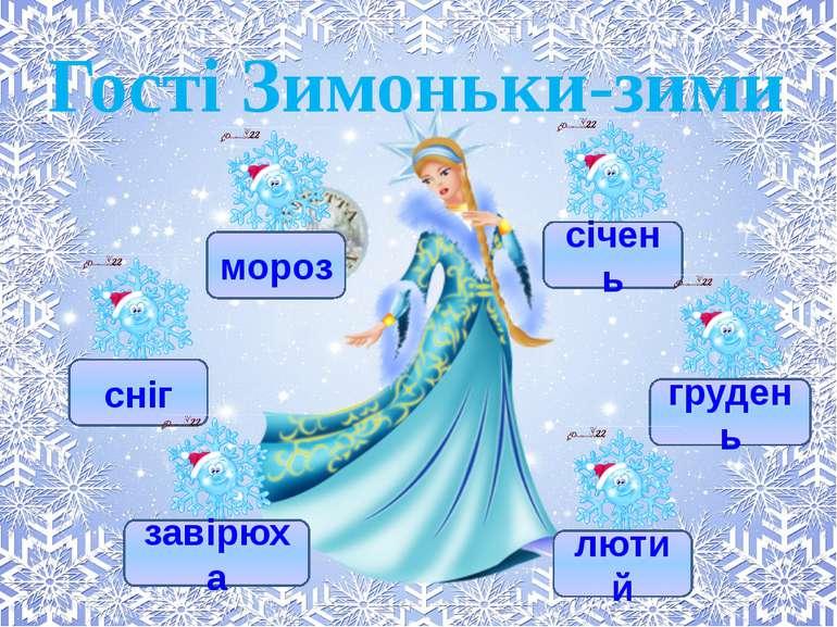 Гості Зимоньки-зими мороз сніг завірюха січень грудень лютий