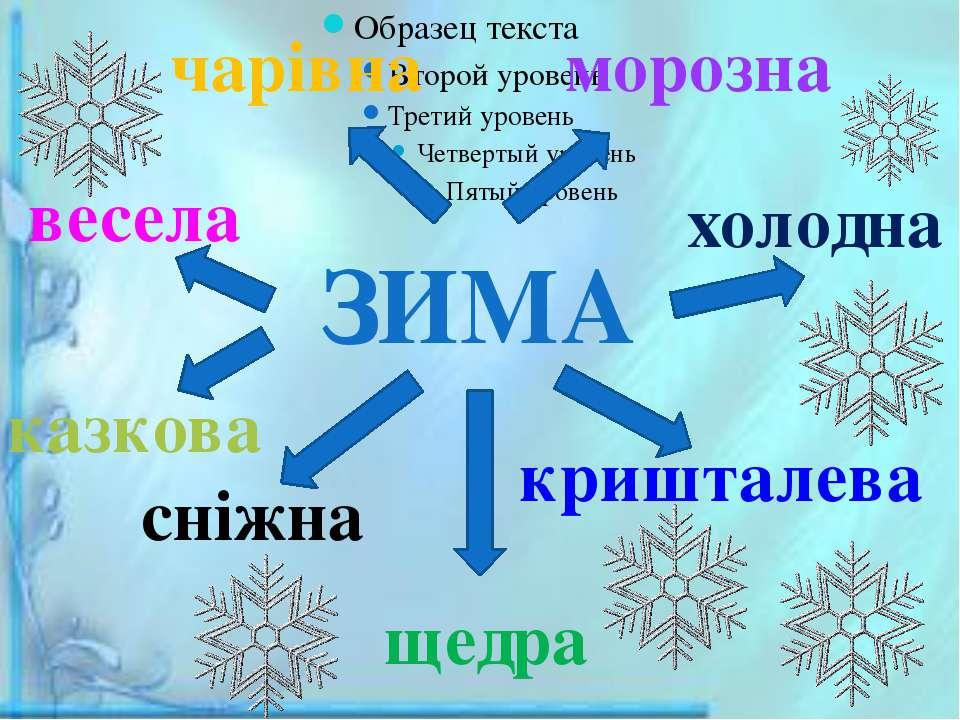 ЗИМА чарівна весела щедра холодна казкова кришталева сніжна морозна