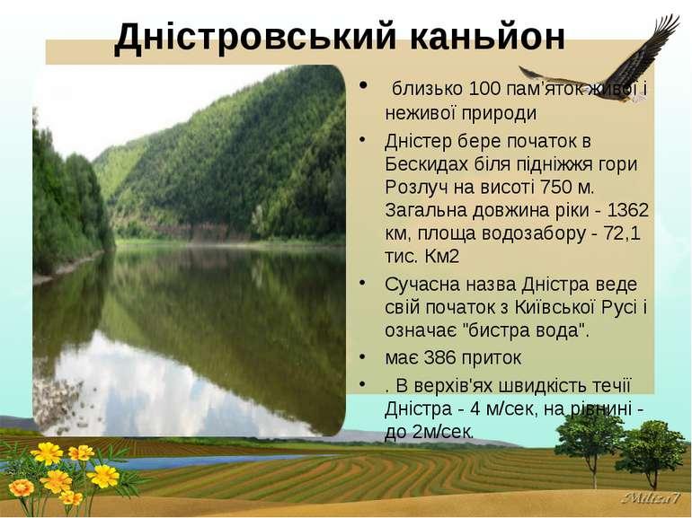 Дністровський каньйон близько 100 пам'яток живої і неживої природи Дністер б...