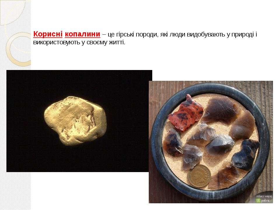 Корисні копалини – це гірські породи, які люди видобувають у природі і викори...