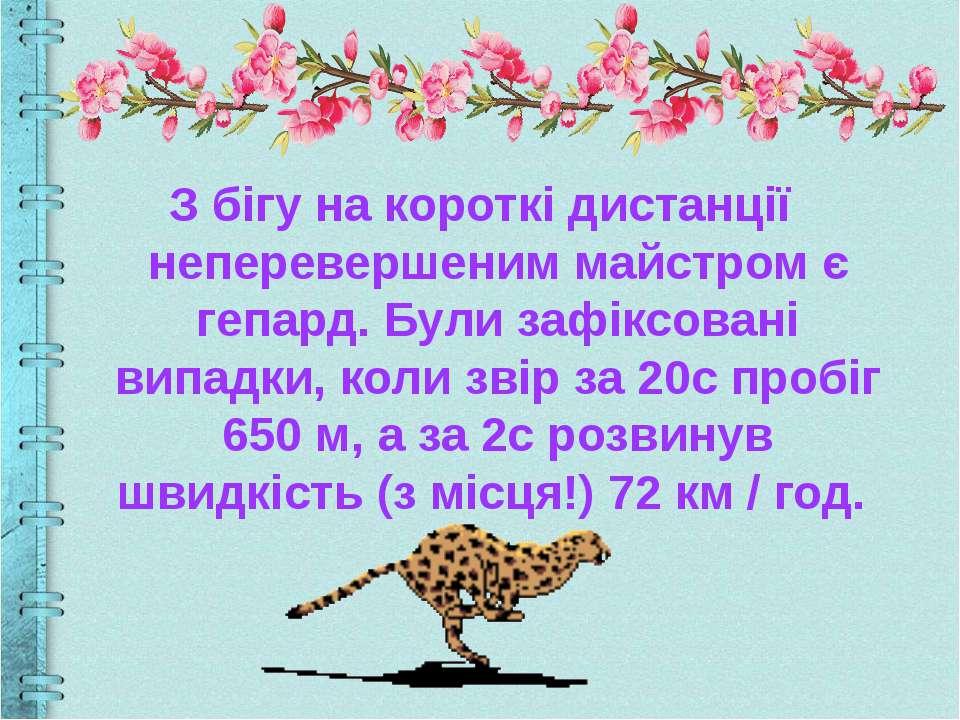 З бігу на короткі дистанції неперевершеним майстром є гепард. Були зафіксован...