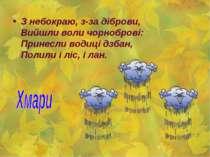 З небокраю, з-за діброви, Вийшли воли чорноброві: Принесли водиці дзбан, Поли...