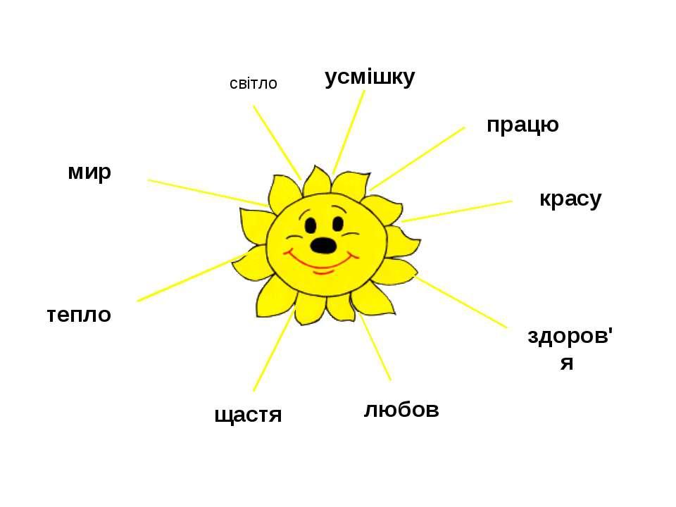 працю красу здоров'я любов щастя тепло мир світло усмішку