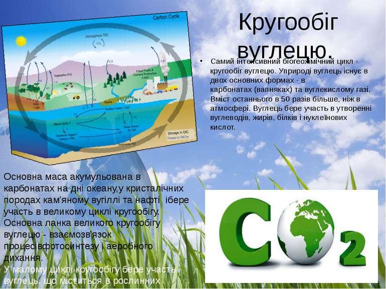 Кругообіг вуглецю. Самий інтенсивний біогеохімічний цикл - кругообіг вуглецю...