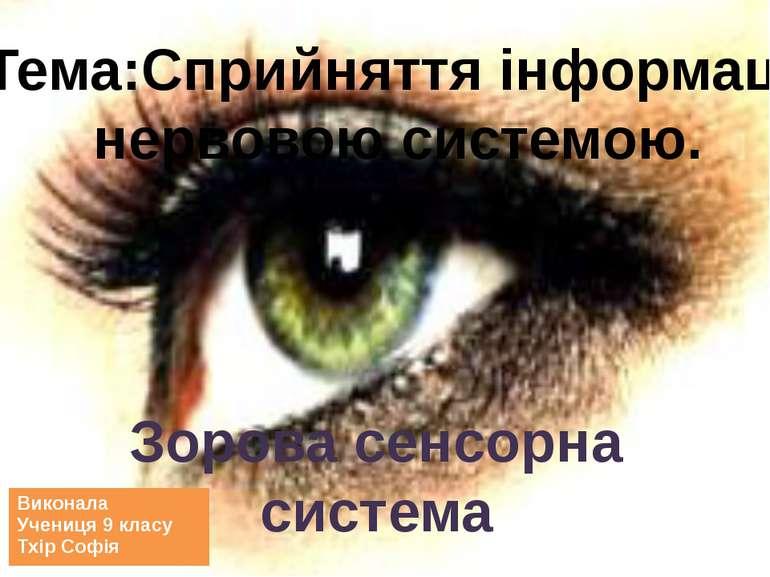 Зорова сенсорна система Тема:Сприйняття інформації нервовою системою. Виконал...