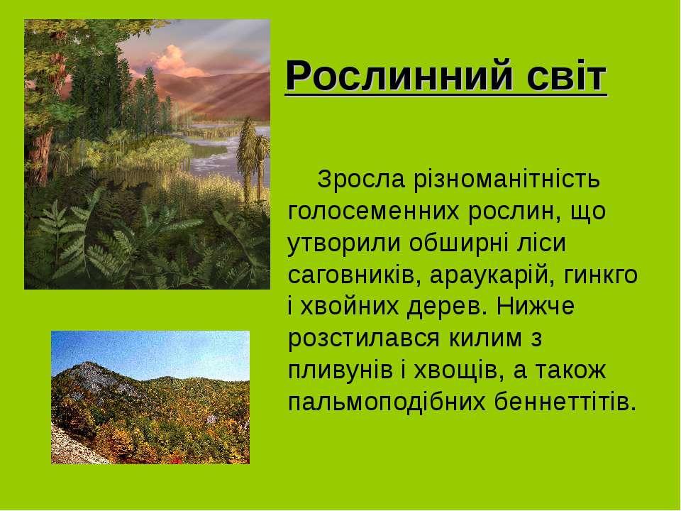 Рослинний світ Зросла різноманітність голосеменних рослин, що утворили обширн...