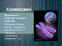 Хромосомні Відхилення в структурі і кількості хромосом Синдром Дауна, Патау, ...
