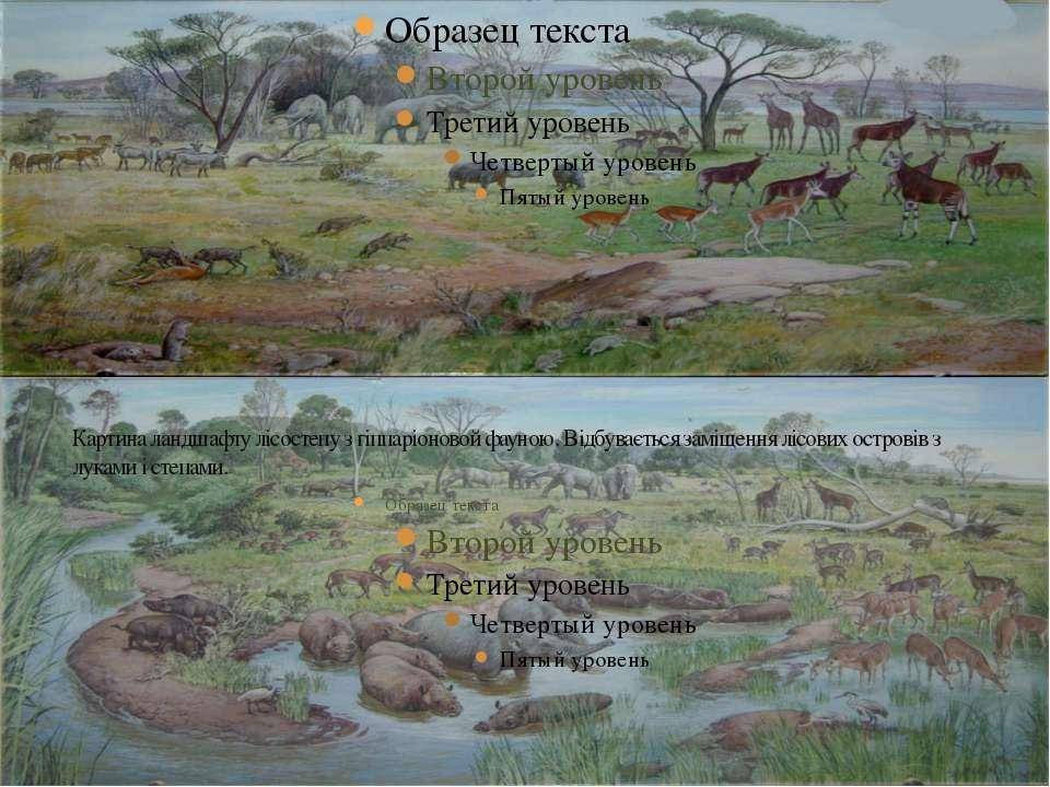 Картина ландшафту лісостепу з гіппаріоновой фауною. Відбувається заміщення лі...