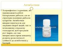 Антибіотики Хлорамфенікол і пуроміцин, які перешкоджають роботі бактеріальних...