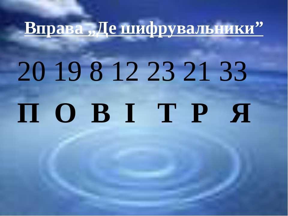 """Вправа """"Де шифрувальники"""" 20 19 8 12 23 21 33 П О В І Т Р Я"""