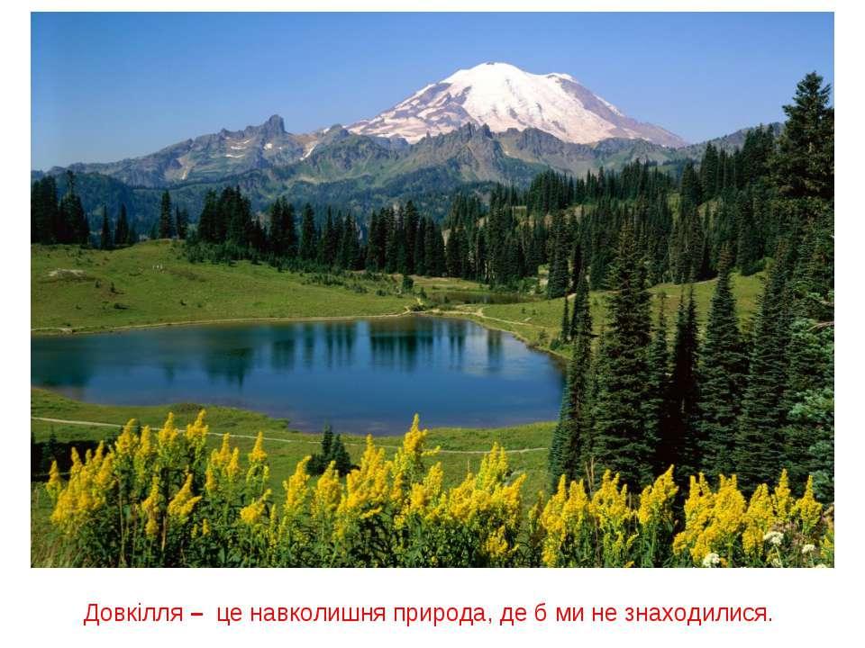 Довкілля – це навколишня природа, де б ми не знаходилися.