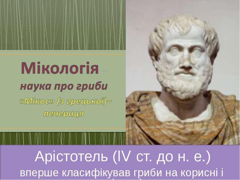 Арістотель (IV ст. до н. е.) вперше класифікував гриби на корисні і шкідливі