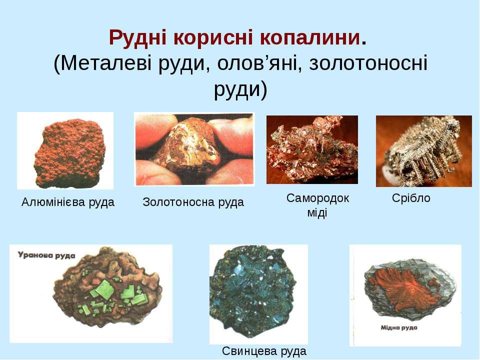 Рудні корисні копалини. (Металеві руди, олов'яні, золотоносні руди) Свинцева ...