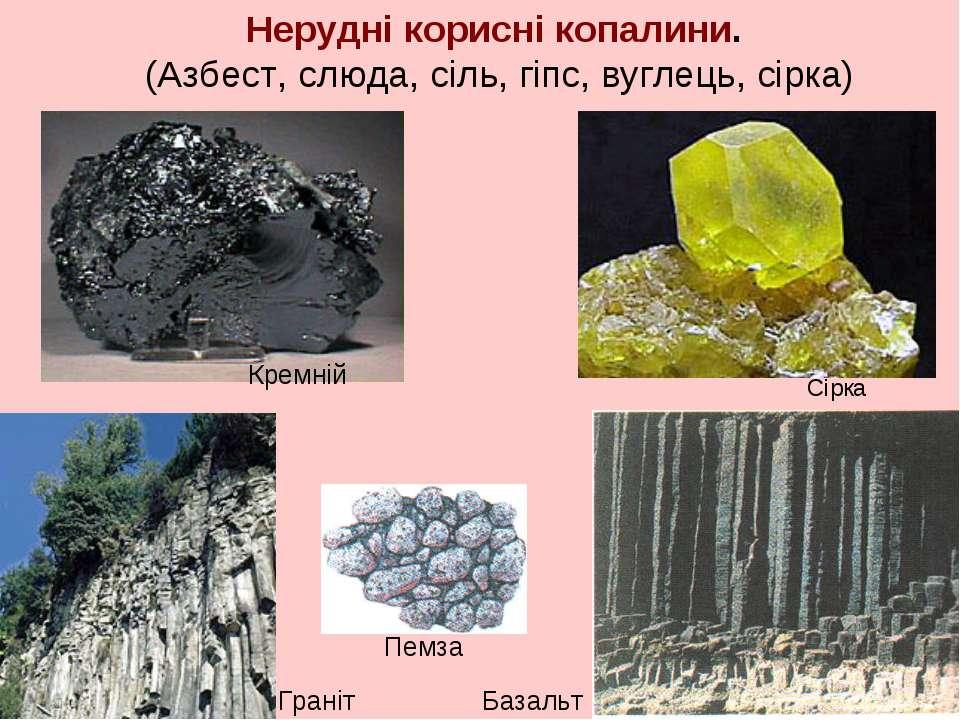 Нерудні корисні копалини. (Азбест, слюда, сіль, гіпс, вуглець, сірка) Сірка Г...