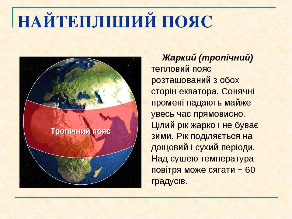 НАЙТЕПЛІШИЙ ПОЯС Жаркий (тропічний) тепловий пояс розташований з обох сторін ...